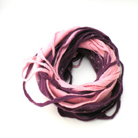 Cobweb felted wool Circle scarf - necklace / pink purple blush violet - autumn fall fashion - infinity scarf