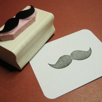 Bushy Mustache  Hand Carved Rubber Stamp by skullandcrossbuns