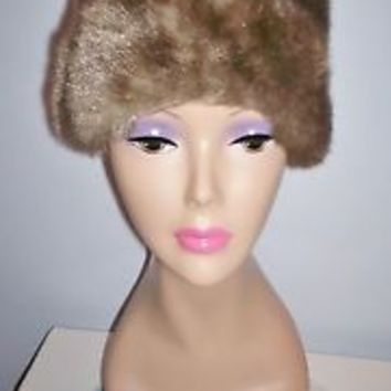Soft Warm Cozy Vintage Women's Faux Fur Dress Hat Fully Lined Size 22 Must L@@K!