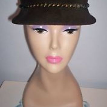 Charming Vintage Women's Brown Velour Dress Hat Noreen Fashions Size 22 Must SEE