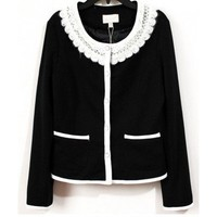 Round Neck Black cotton fashion jacket  Embroidery Pop  style zz920001 in  Indressme