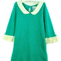 Round Neck Malachite green half sleeve doll collar pullover   style zz91900802 in  Indressme