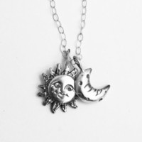 Sun Moon Necklace, Silver Sun and Moon Pendant Necklace, Sun and Moon Necklace