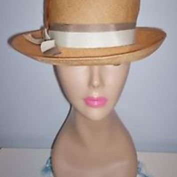 Stylish Vintage Women's Lightweight Straw Dress Hat Size 21.5 Grosgrain Band SEE