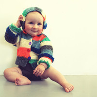 Knitted hooded striped sweater