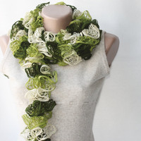 Green Knit Scarf Winter Accessories.. on Luulla