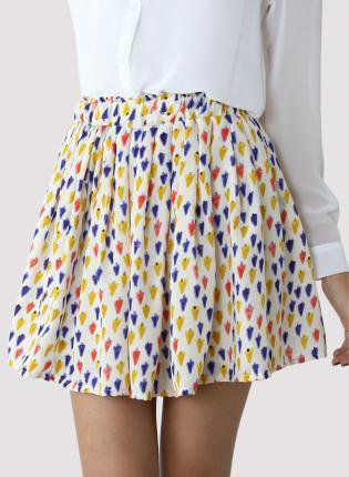 Colorful Popsicle Print Chiffon Skirt with Stretch Waist