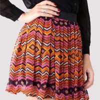 Aztec Zig Zag Print Chiffon Skirt with Stretch Waist