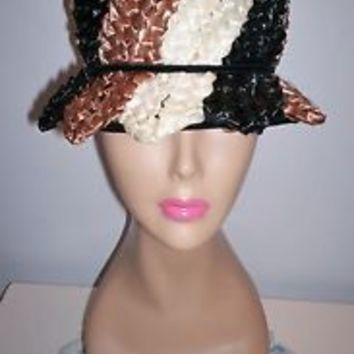 Stylish Vintage Women's Tri-Color Straw-Like Dress Hat Size 21 Black Taupe Ivory