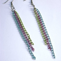 Triple Color Chain Earrings