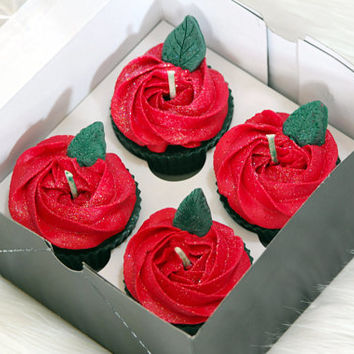 Red Rose Scented, Shaped Cupcake Candles, Handmade, Fresh Cut Rose Scent, Beautiful Candles, Unique Cupcakes, Glitter Candles, Box of 4