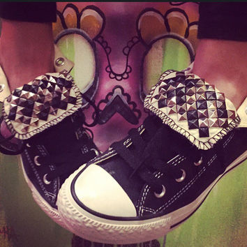 Custom Studded Black High Top Converse - Chuck Taylors ALL SIZES & COLORS!!!