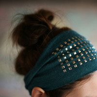 Modern rock Headband -hunter green
