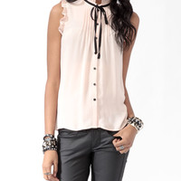 Sleeveless Ruffle Trimmed Shirt