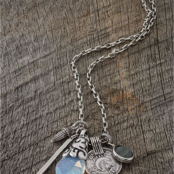 silver-color lucky charm necklace - Lacey Ryan Collection