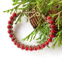Red bead bracelet - Coral gemstone Christmas berries - brass bangle