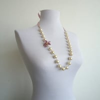 Pearl Necklace with Flowered Needle Lace, Briadal Necklace, Pearl Necklace With Flower, Gift For Her