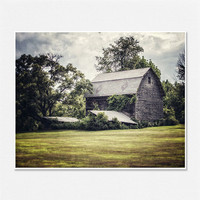 Barn Pictures Rustic Decor Barn Landscape Photography - 8x10 - Grey Gray Green Olive - Country Decor Vintage Barn Print Nostalgic Moody.