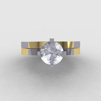 Modern 14K Two Tone Gold 1.0 CT White Sapphire Solitaire Engagement Ring, Wedding Band Bridal Set R186S-14KTT2WYGWS