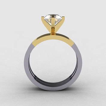 Modern 10K Two Tone Gold 1.0 CT White Sapphire Solitaire Engagement Ring, Wedding Band Bridal Set R186S-10KTT3WYGWS