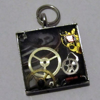 Tech / Steampunk Square Resin Pendant