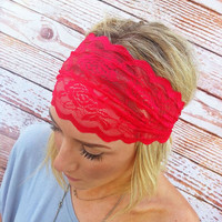 Cranberry Red Lace Headband Stretchy Hair Band