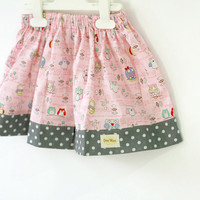 Valentine baby skirt, baby pink and grey polka dot, owl print skirt, cotton skirt, toddler skirt size from 6 months to 8 years