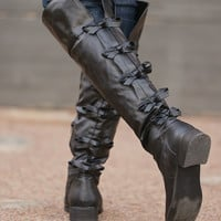 Born For This Bow Boots - Black