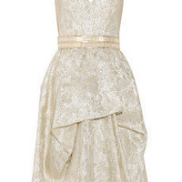 Discount Lela Rose Belted metallic brocade dress | THE OUTNET