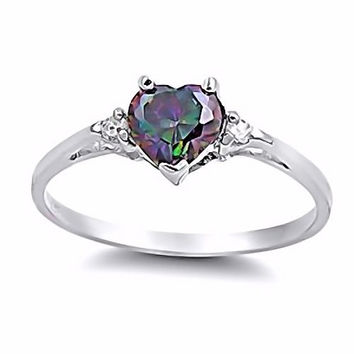 Sterling Silver 0.81ct Heart-cut Mystic Rainbow Topaz and Russian IOF CZ Promise Friendship Ring, Madison (sizes 4-10.5), SDI85102-3144