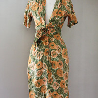 Vintage Dress - 1950S Maggie Stover Fall Floral Foliage