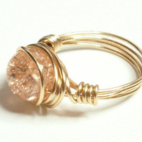 20% OFF SHOP Salmon Crackle and Gold Wire Wrapped Ring