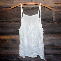 gauze embroidered boho top - white