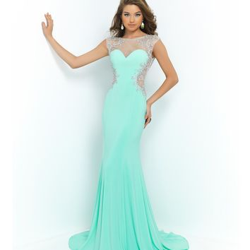 Prom 2015 Mint Green Beaded Mesh Illusion Cut Out Open Back Gown 9942