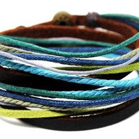 Jewelry bangle leather Bracelet buckle bracelet women bracelet men bracelet with Brown Leather Ropes and metal Woven Snapper  1SZ-LH-294