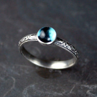 London Blue Topaz and Floral Scroll Stacking Ring