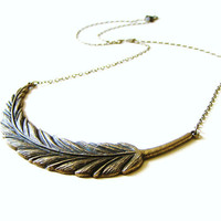 FALL SALE : 30% Off Antique Bronze Tribal Feather Long Statement Necklace by LillyandLulu, Woodland, Rustic, Under 25, Native American