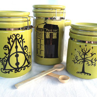 Geek Triumverate Canister Set - Harry Potter, Doctor Who, and Lord of the Rings - Hand painted, lime green with quotes and designs