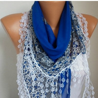 ON SALE -Summer Scarf Shawl  -  Cotton Weddings Scarves -  Cowl  with  Lace Edge - Cobald Blue