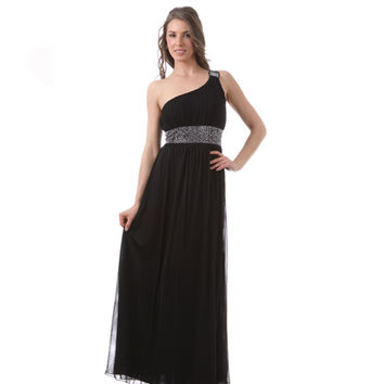 Black One Shoulder Silver Stone Grecian Gown 2015 Prom Dresses