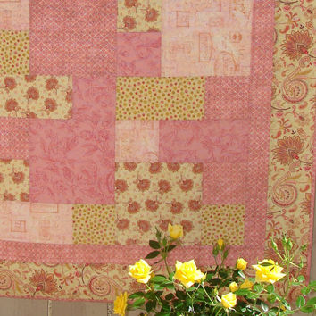 Quilt in Romantic French Garden Shabby Chic Rosy Pink and Soft Golden Yellow