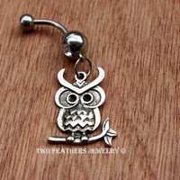 Owl Belly Ring - Clear Gem Belly Ring - Belly Button Jewelry - Body Jewelry - Dangle Belly Ring - Belly Dancer - Exotic Dancer - Owl Jewelry