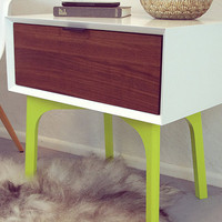 Side Table and Drawer - White Lacquer and Lime Green Legs