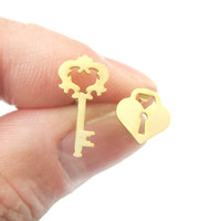 Key To My Heart Skeleton Key and Heart Shaped Lock Stud Earrings in Gold | DOTOLY - Keys to My Heart Stud Earrings in Gold