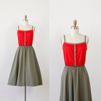 Red and Military Green Vintage Dress