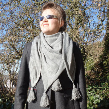SQUARE GRAY SCARF - womens accessories scarves - fashion scarf - classic style - grey scarf - gift for mom - knitted scarf - grandma gift