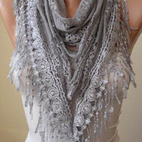 Grey Laced and Soft Scarf with Grey Trim Edge  - Triangular