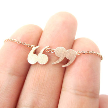 Quotation Marks Inverted Commas Shaped Charm Necklace in Rose Gold | DOTOLY - Quote Marks Charm Necklace in Rose Gold