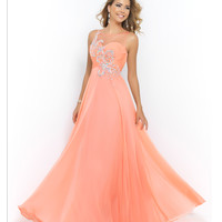 Blush Prom Coral Pink Sheer Neck & Back Rouched Sweetheart Beaded & Jeweled Chiffon Gown Prom 2015