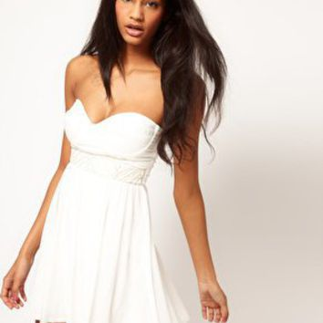 ASOS Skater Dress With Embellished Trim at asos.com